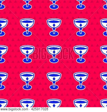 Blue Medieval Goblet Icon Isolated Seamless Pattern On Red Background. Vector