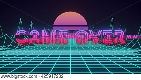 Image of neon flickering game over text over glowing pink sun and blue grid. retro image game and entertainment concept digitally generated image.