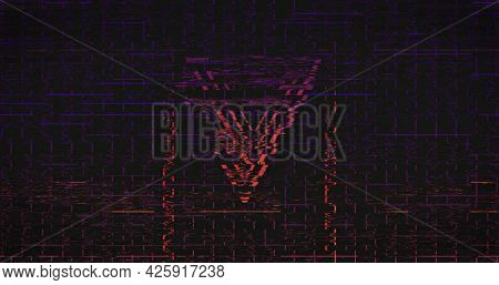 Image of pink neon flickering triangles over glowing pink to purple grid. retro image game and entertainment concept digitally generated image.