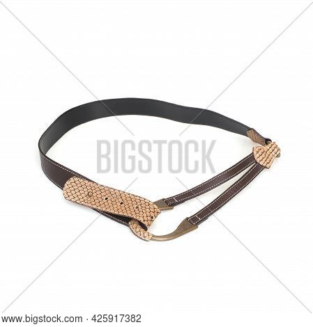 Leather Belt With Reptile Decor Isolated On A White Background