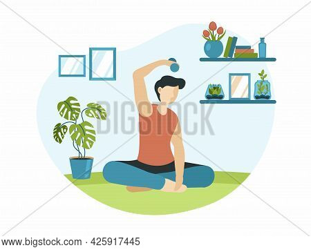 Home Sport Exercising. Character In Lotus Position With Dumbbells Stretches. Household Palm Tree In