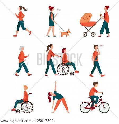 Outdoor Activity. Different People Set Isolated On White. Flat Characters Walking With Dog, Mom With