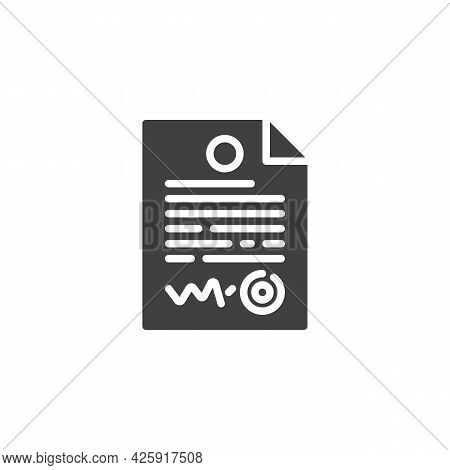 Contract Document Vector Icon. Filled Flat Sign For Mobile Concept And Web Design. Agreement Contrac