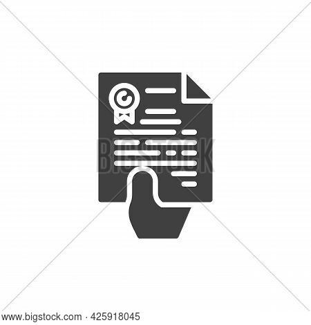 Hand With Contract Document Vector Icon. Filled Flat Sign For Mobile Concept And Web Design. Hand Gi