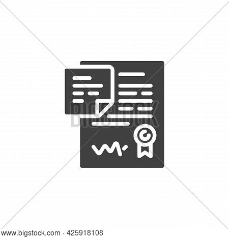 Contract Agreement Vector Icon. Filled Flat Sign For Mobile Concept And Web Design. Contract And Not