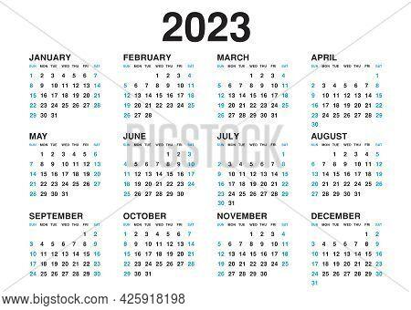 Calendar 2023 Template Vector, Simple Minimal Design, Planner 2023 Year, Wall Calendar 2023 Year, We