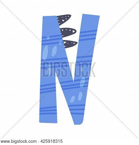 Dino Alphabet Capital Ornamental Letter N Vector Illustration