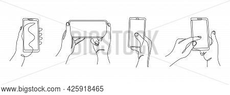 One Line Hands With Phones. Continuous Line Female Hands Holding Gadgets In Portrait And Landscape M