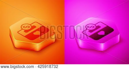 Isometric Donation And Charity Icon Isolated On Orange And Pink Background. Donate Money And Charity