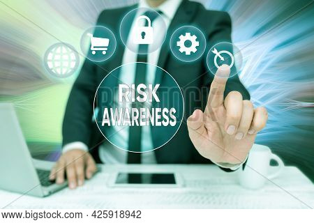 Hand Writing Sign Risk Awareness. Concept Meaning Recognizing Factors That May Cause A Lifethreateni