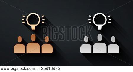 Gold And Silver Project Team Base Icon Isolated On Black Background. Business Analysis And Planning,