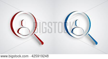 Paper Cut Magnifying Glass For Search A People Icon Isolated On Grey Background. Recruitment Or Sele
