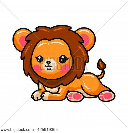 Vector Illustration Of Cute Little Lion Cartoon Laying Down