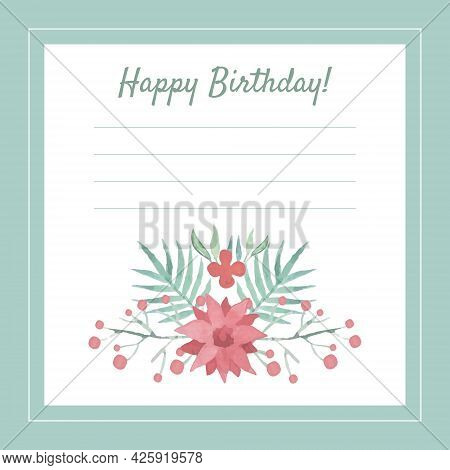 Lined Happy Birthday Card With Floral Arrangement In The Bottom Vector Template