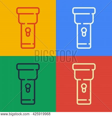 Pop Art Line Flashlight Icon Isolated On Color Background. Vector