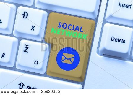 Conceptual Caption Social Network. Business Concept A Framework Of Individual Linked By Interan Indi