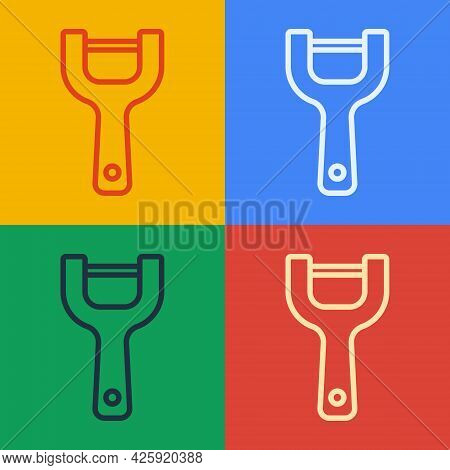 Pop Art Line Vegetable Peeler Icon Isolated On Color Background. Knife For Cleaning Of Vegetables. K
