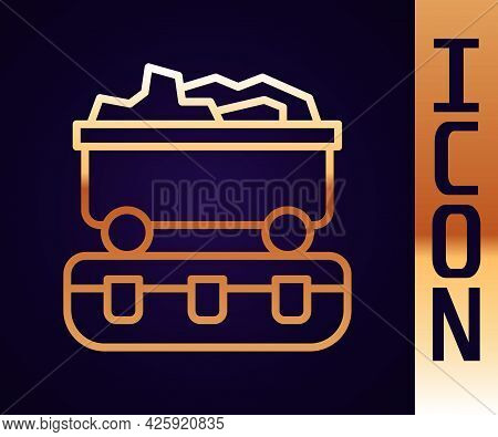 Gold Line Coal Train Wagon Icon Isolated On Black Background. Rail Transportation. Vector