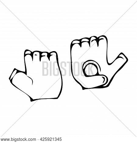 Sport Gloves Isolated On White Background.gloves For Active Rest In Vector.insulated Gloves Vector I