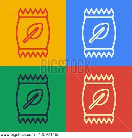 Pop Art Line Fertilizer Bag Icon Isolated On Color Background. Vector