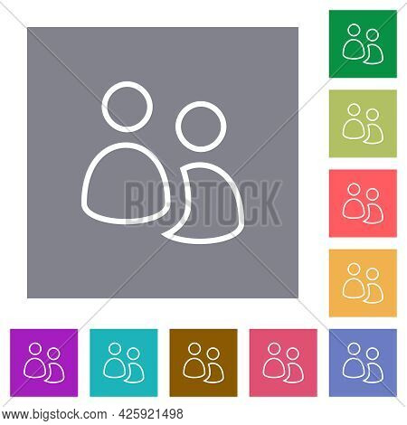 User Group Outline Flat Icons On Simple Color Square Backgrounds