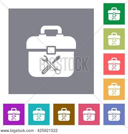 Toolbox With Wrench And Screwdriver Flat Icons On Simple Color Square Backgrounds