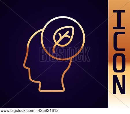 Gold Line Human Head With Leaf Inside Icon Isolated Gold Line Background. Vector