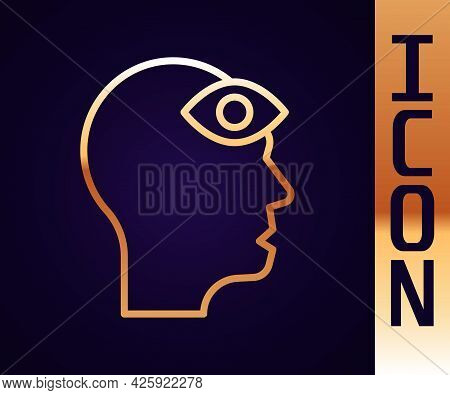 Gold Line Man With Third Eye Icon Isolated On Black Background. The Concept Of Meditation, Vision Of