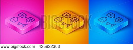 Isometric Line Planning Strategy Concept Icon Isolated On Pink And Orange, Blue Background. Formatio