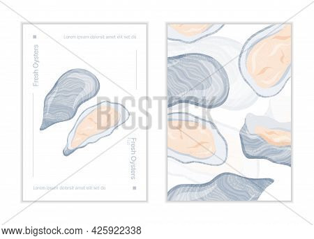 Fresh Tasty Seafood Clams, Oysters In Seashells Vector Hand Drawn Poster Concept With Space For Text