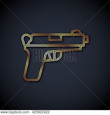 Gold Line Pistol Or Gun Icon Isolated On Black Background. Police Or Military Handgun. Small Firearm