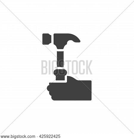 Hand With Hammer Vector Icon. Filled Flat Sign For Mobile Concept And Web Design. Hand With Mallet G