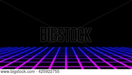 Image of image game screen with pink to purple glowing grid lines moving on black background. Colour light movement concept digitally generated image.
