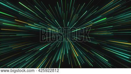 Image of multiple colourful green, blue and orange light trails moving on black background. Colour light movement concept digitally generated image.