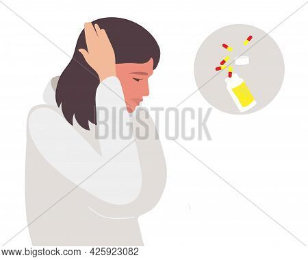 Headache Medicine. Young Woman Holds Her Hand To Her Head, Experiencing Headache, Migraines, Stress,