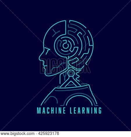 Concept Of Machine Learning Or Deep Learning, Graphic Of Artificial Intelligence With Maze Brain