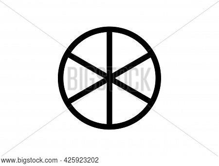 Sun Wheel Mandala Circle Of Life Order Symbol Fate Cycle Rebirth. Wiccan Pagan Symbology, Vector Log