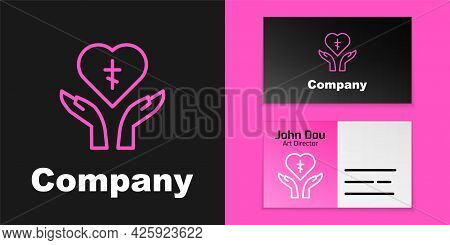 Pink Line Religious Cross In The Heart Inside Icon Isolated On Black Background. Love Of God, Cathol
