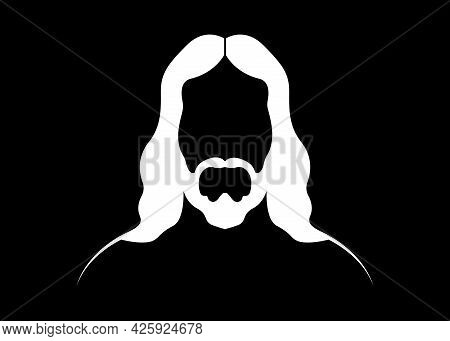 Jesus Christ, Graphic Portrait Vector White Silhouette Isolated On Black Background