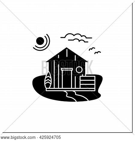 Beach Hut Glyph Icon. Wooden Comfortable House On Beach. Surfboards. Seascape. Rest Concept. Filled