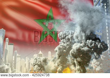 Large Smoke Column With Fire In Abstract City - Concept Of Industrial Accident Or Terroristic Act On