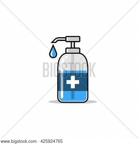 Hand Sanitizer Bottle Icon. Hand Sanitizer Vector. Disinfection. Washing Gel To Kill Most Bacteria,