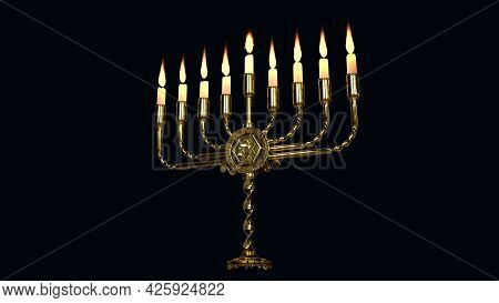 Gold Ornamental Hanukkiah Flaming Isolated - Cgi Object 3d Rendering