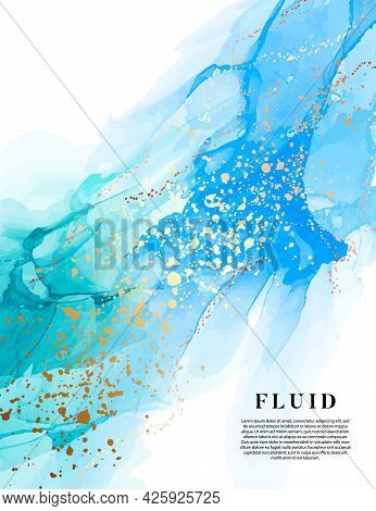 Turquoise Blue Alcohol Ink Background Gold Texture Luxury Fluid Art Painting, Swirl Abstract Poster,