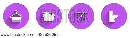 Set Towel On Hanger, Basin With Soap Suds, Ironing Board And Toilet Bowl Icon With Long Shadow. Vect