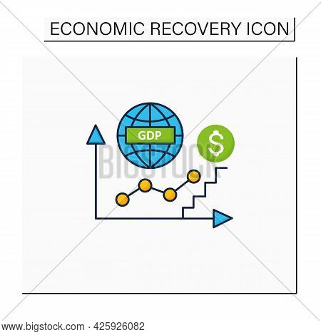 Gdp Growth Color Icon. Gross Domestic Product.increase In Production And Services In Economy. Upswin