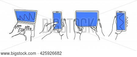 One Line Hands With Gadgets. Continuous Line Female Hands Holding Smartphones Tablet And Laptop. Vec