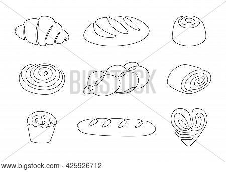 Bread One Line. Continuous Line Pretzel, Croissant, Baguette, Bagel, Muffin, Loaf, Cinnamon Roll, Ba