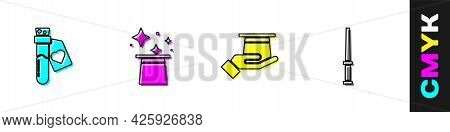 Set Bottle With Love Potion, Magic Hat, Magician In Hand And Wand Icon. Vector