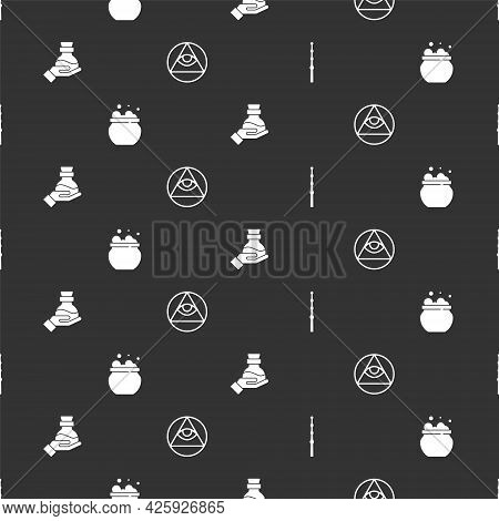 Set Magic Wand, Witch Cauldron, Bottle With Potion And Masons On Seamless Pattern. Vector
